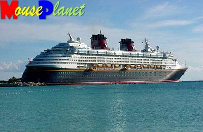 The Disney Magic moored at Castaway Cay.