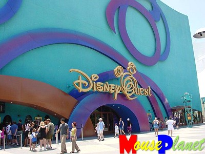 The blue DisneyQuest building in Orlando's Downtown Disney.