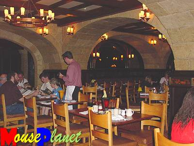 Le Cellier Steakhouse interior design is reminiscent of a wine cellar in a French Canadian Chateau.