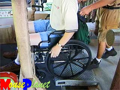 A view of wheelchair accessibility on the safari ride vehicle.