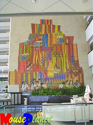 The West-facing Mary Blair mural.