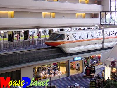 Monorail zipping through the Contemporary Resort (photo by Sue Holland)