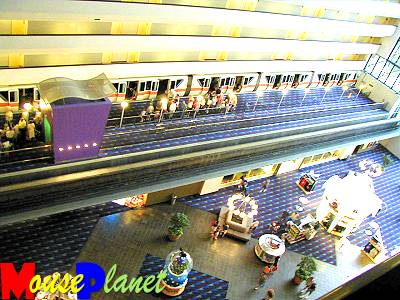 The shopping concourse and monorail station viewed from the 8th floor...