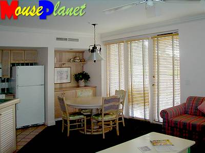 The dining area in the two-bedroom vacation homes.