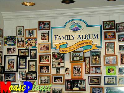 The Disney Vacation Club family album wall at Olivia's.
