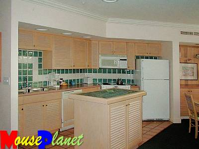 The kitchen in the one- and two-bedroom vacation homes.