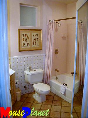 The studio bathroom (again, the second bedroom of a two-bedroom vacation home has this kind of bath, too).
