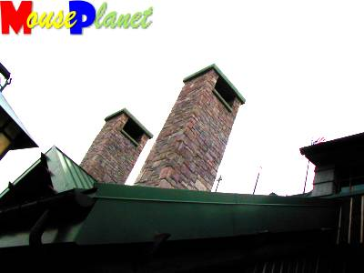 The Lodge's roof and chimneys viewed from the front outside deck